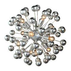 Italian 70's Chrome Sputnik Chandelier