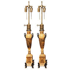 Pair Of Period Empire Tole Argand Lamps