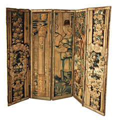 17th C Tapestry Fragment Screen