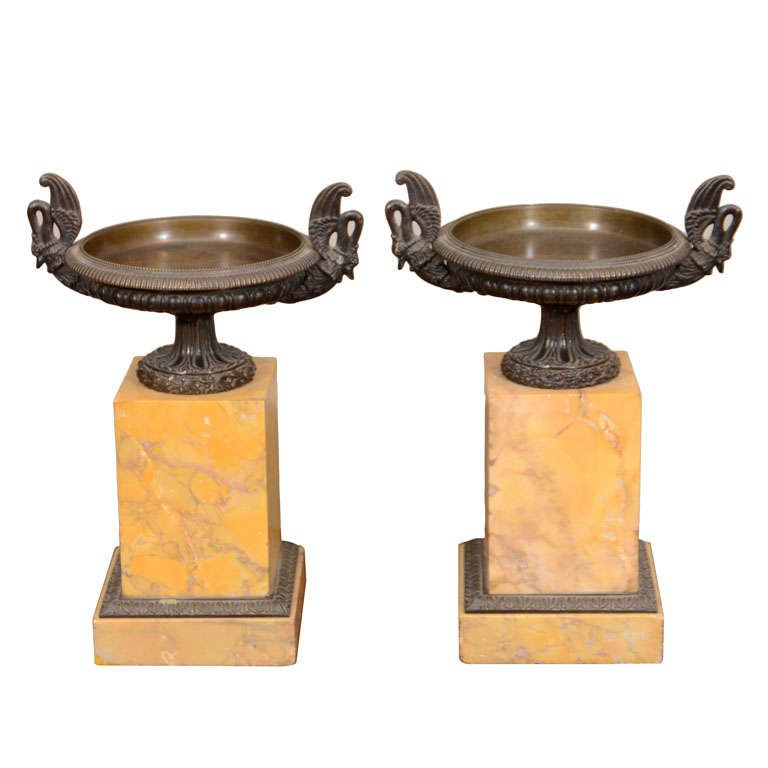 Pair of Early 19th Century French Bronze Tazzas on Sienna Marble Stands