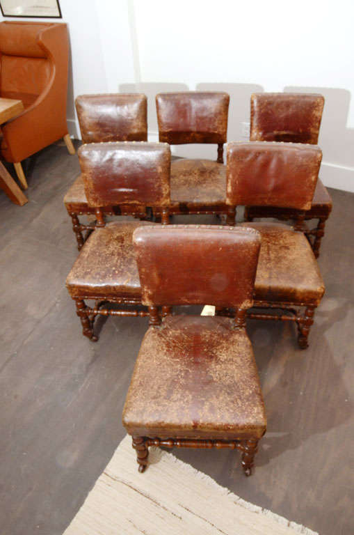 Set of Six Rustic Leather Chairs 3