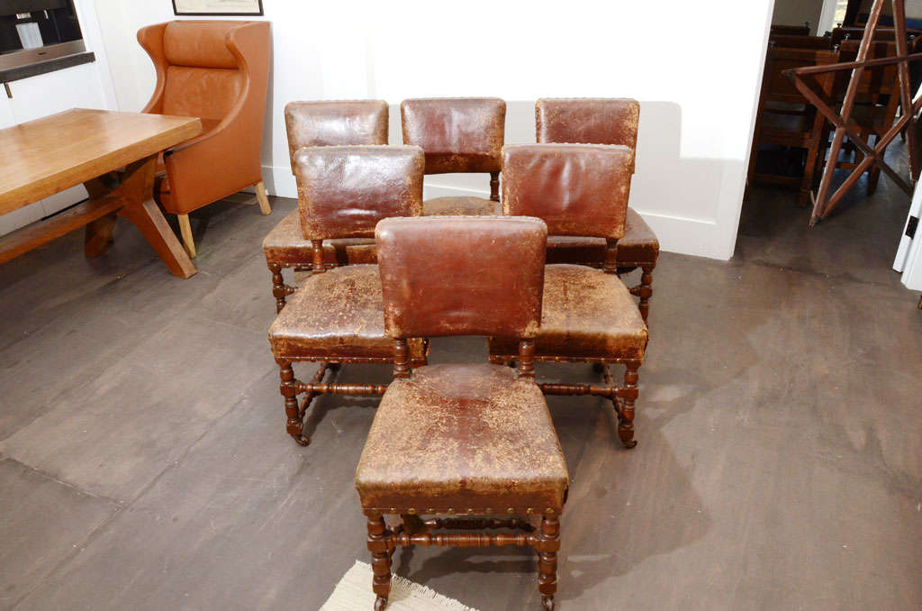 Set of Six Rustic Leather Chairs 4