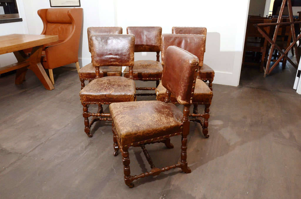 Set of Six Rustic Leather Chairs 5
