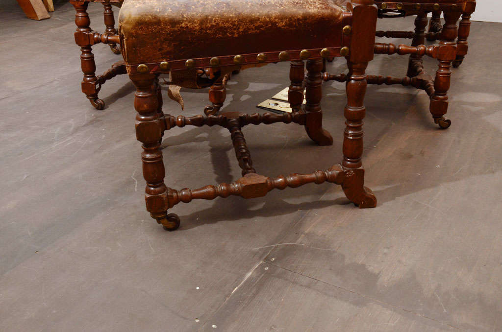 Set of Six Rustic Leather Chairs 6
