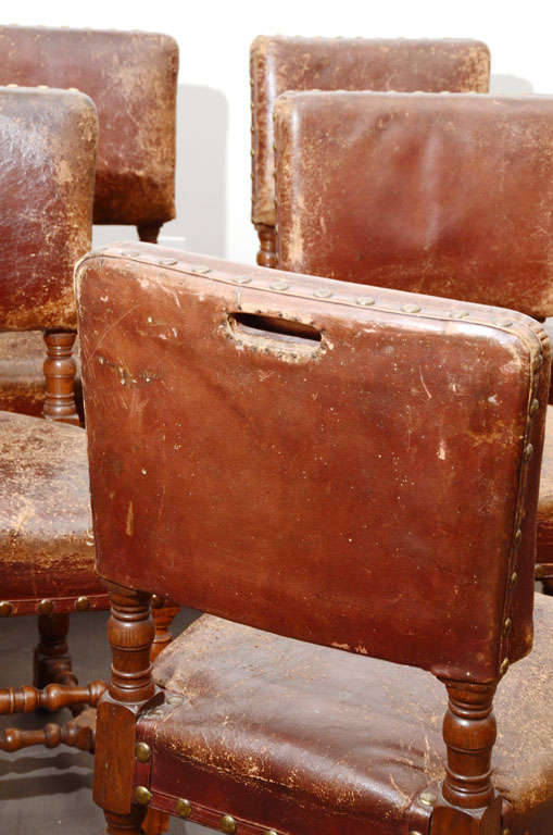 Set of Six Rustic Leather Chairs 8