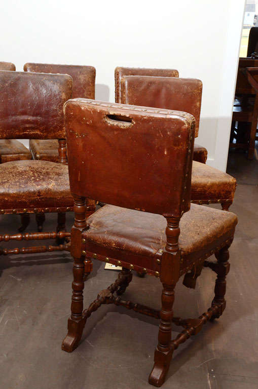 Set of Six Rustic Leather Chairs 9