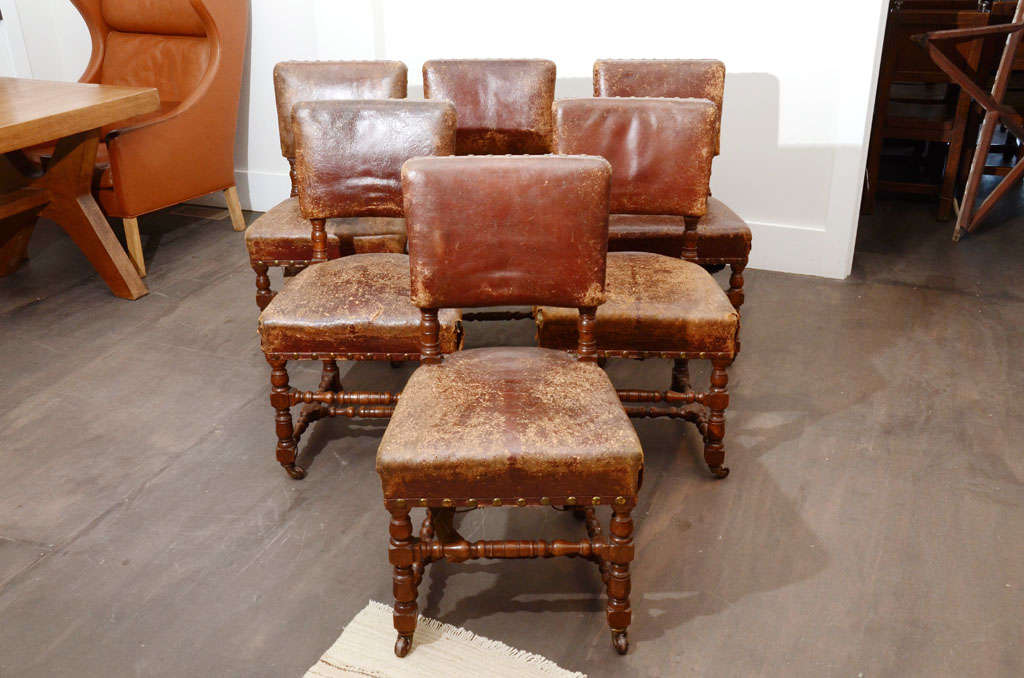 Set of Six Rustic Leather Chairs 2