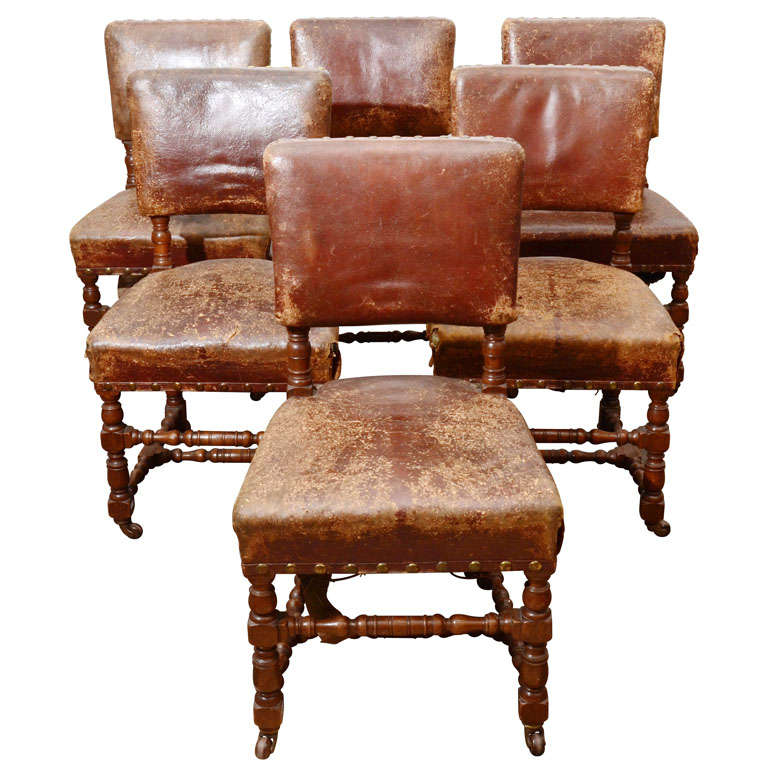 Set of Six Rustic Leather Chairs 1
