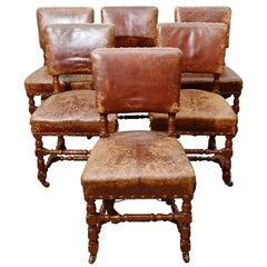 Set of Six Rustic Leather Chairs