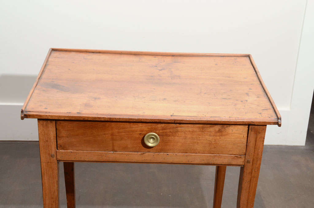 French Wooden Side Table with Drawer For Sale