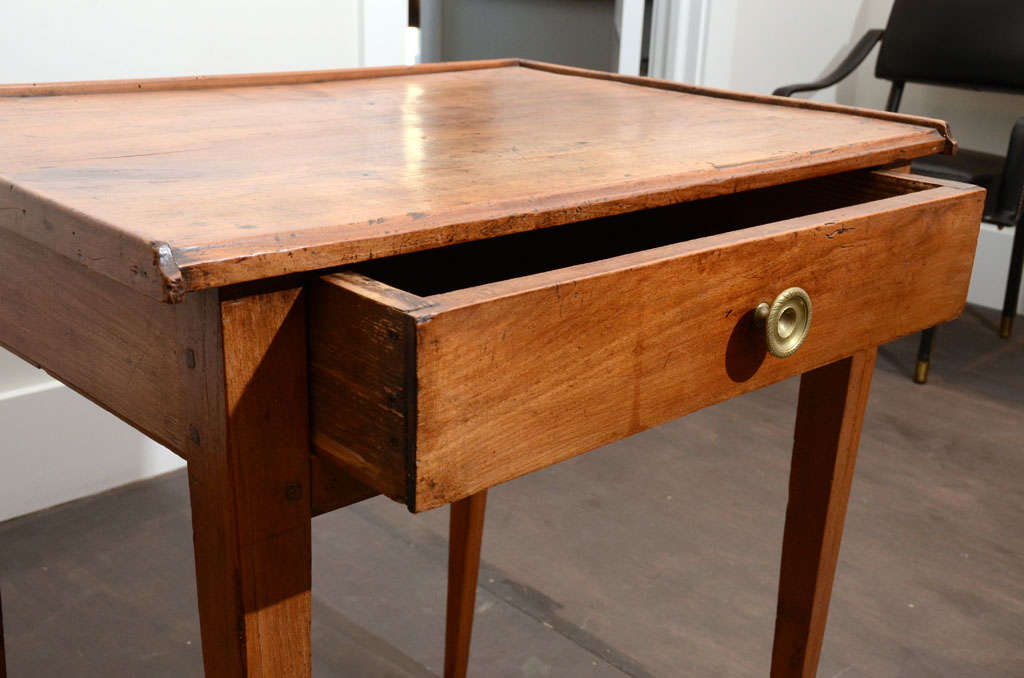 20th Century Wooden Side Table with Drawer For Sale