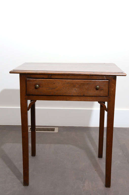 Oak Side Table with Drawer at 1stdibs