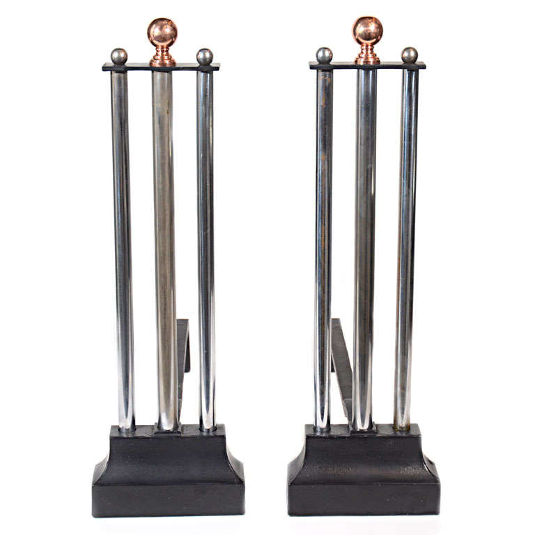 Machine Age Art Deco Andirons In The Manner Of Donald