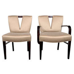 Set of Six Modern Plunging Neckline Dining Chairs by Paul Frankl