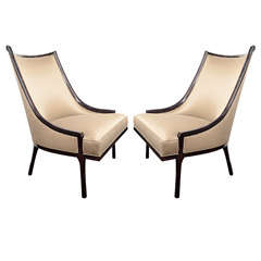 Pair of Ultra High Back Sculptural Chairs with Curved Details