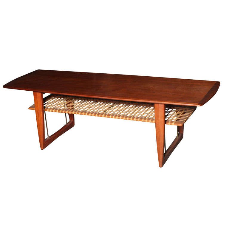 Teak Coffee Table With Cane Shelf At 1stdibs