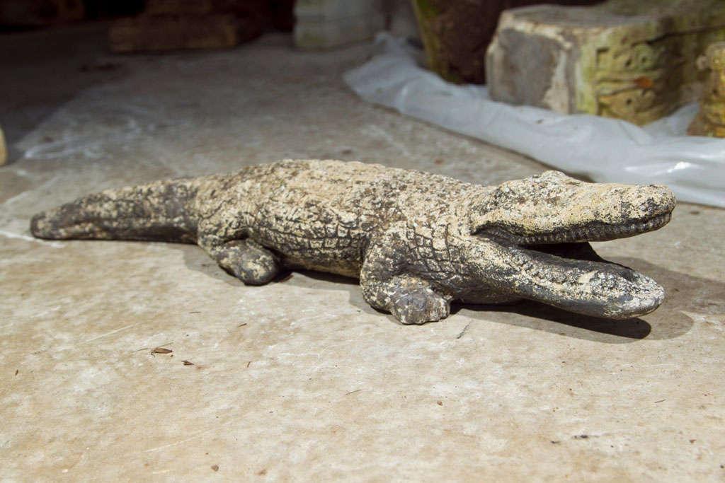 Cast Stone Crocodile Garden Statue For Sale 1