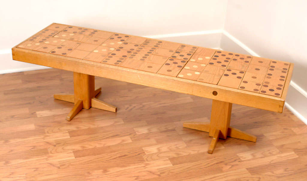 70s Artisan Dominoes Game Coffee Table At 1stdibs