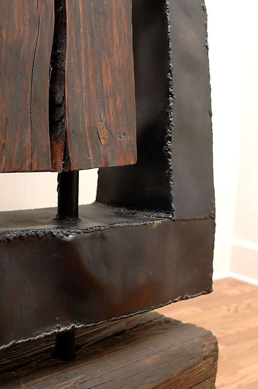 Early 70s large wood and steel brutalist sculpture by for 70s wooden couch