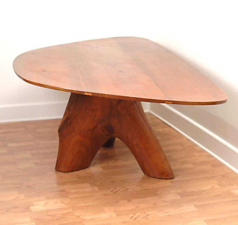 70s organic jacquin smolens black walnut tree trunk dining for Tree trunk dining room table