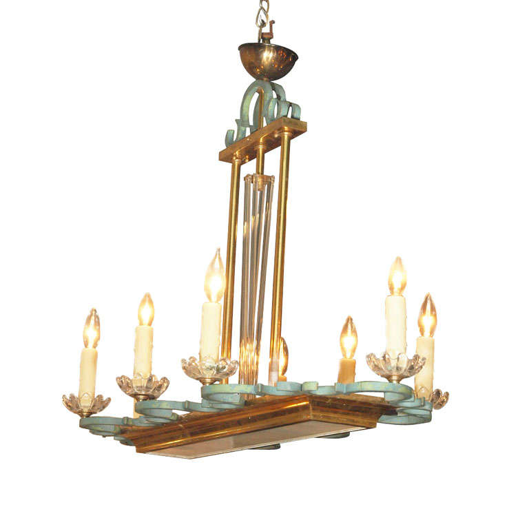 French art nouveau eight light chandelier in brass iron for Chandelier art nouveau
