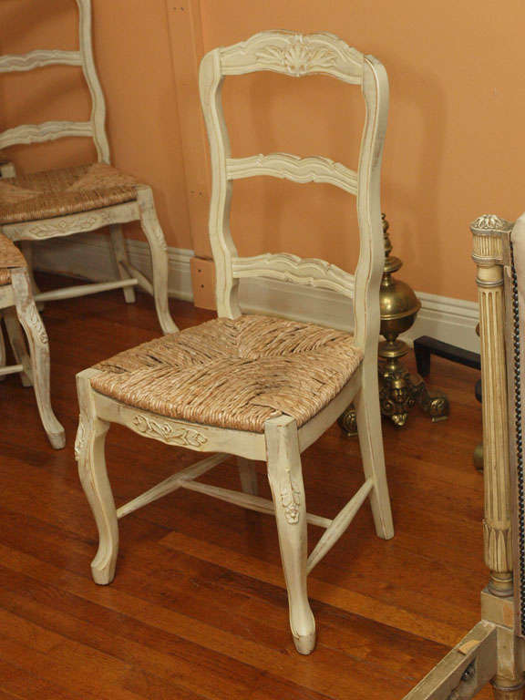 Set Of Eight French Provincial Painted Rush Seat Chairs At 1stdibs