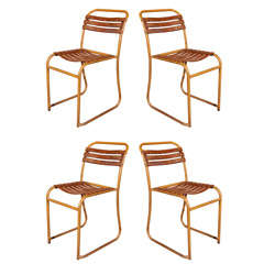 French Painted Bakelite Slat Stacking Chairs, circa 1940