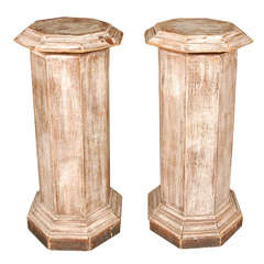Pair of Octagonal Beveled Top Columnar Plinths from 19th Century England