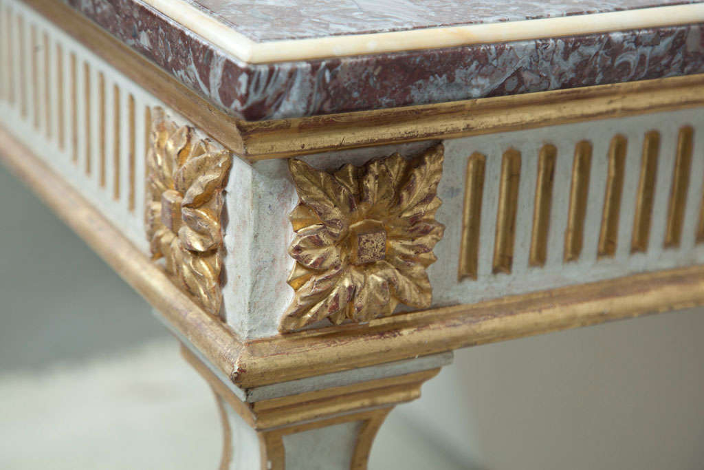 Contemporary Italian Console Table with Marble Top For Sale