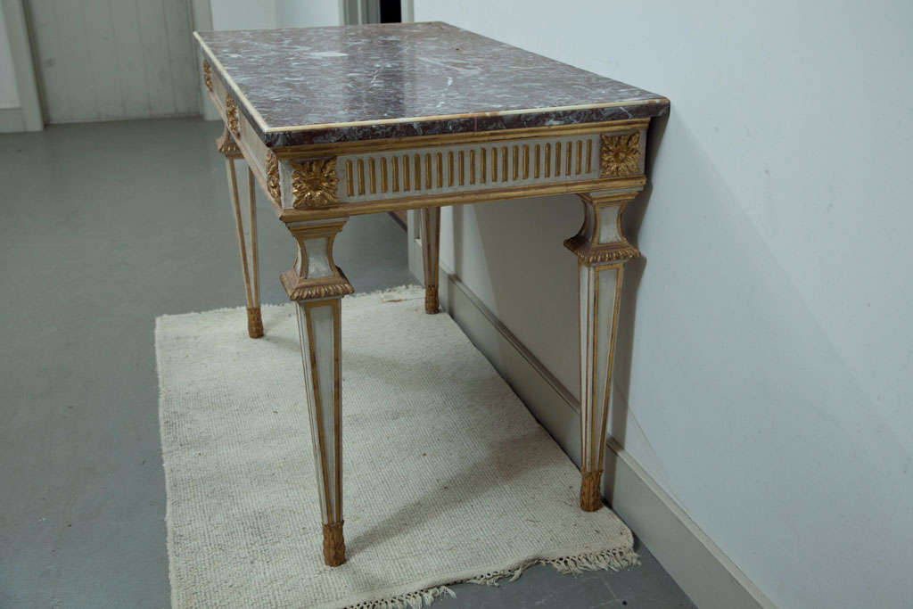 Italian Console Table with Marble Top For Sale 1