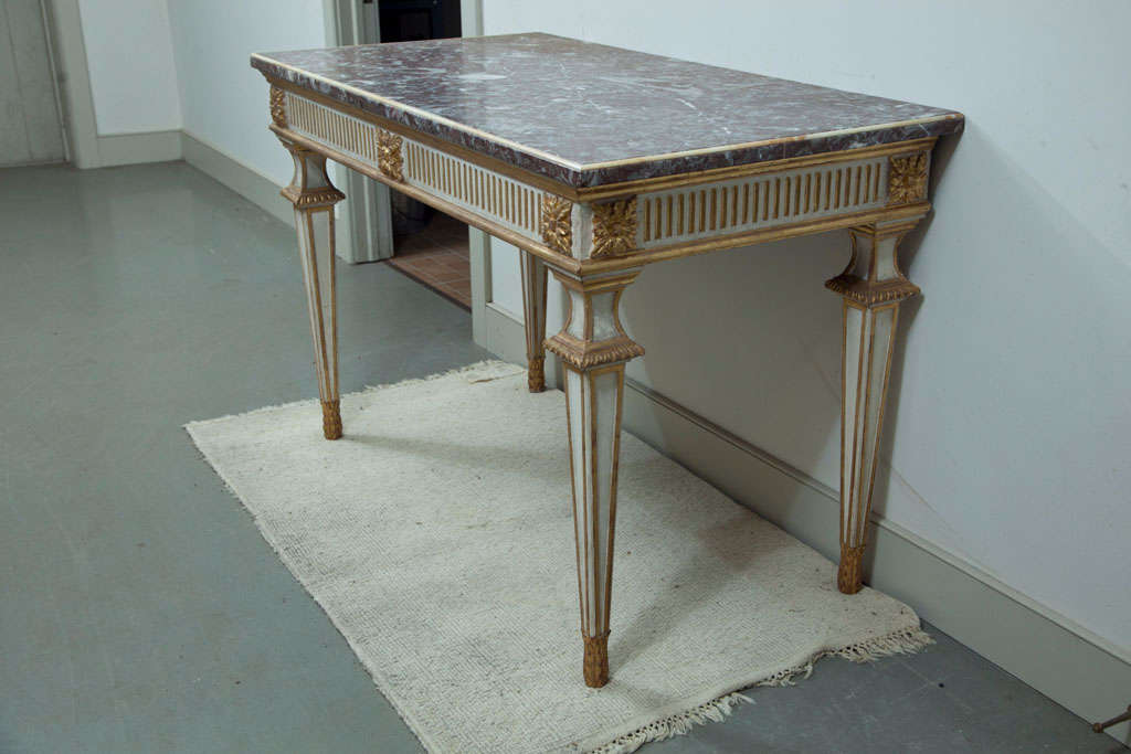 Italian Console Table with Marble Top For Sale 2