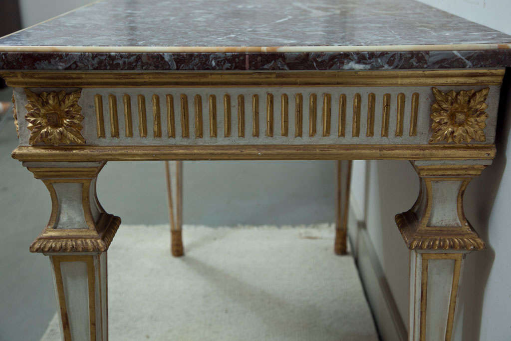 Italian Console Table with Marble Top For Sale 3