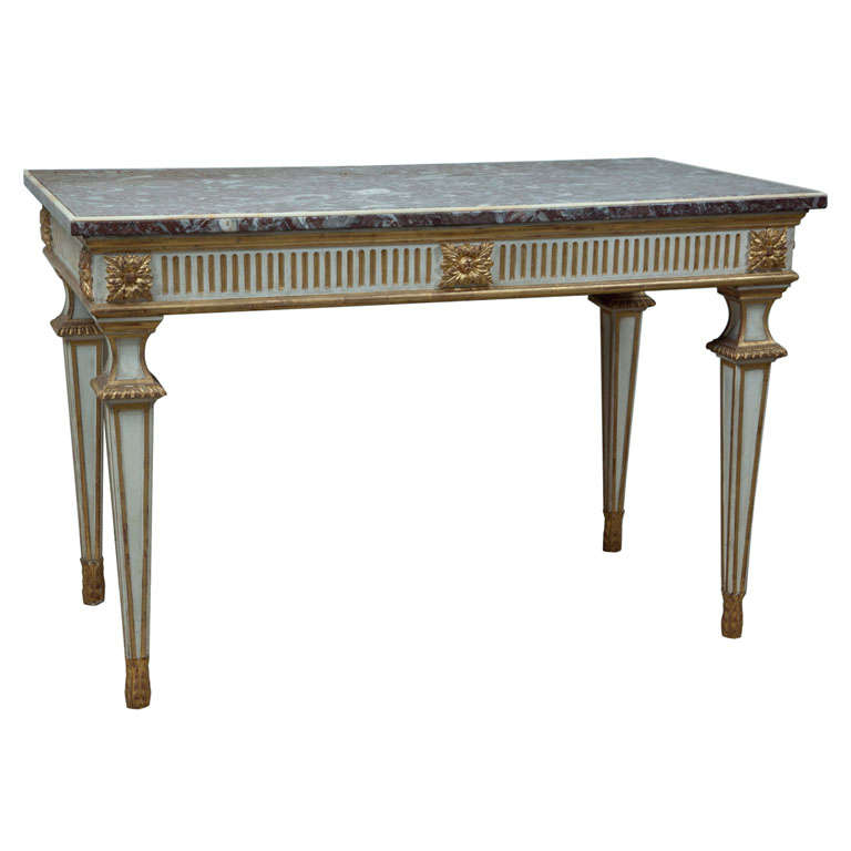 Italian Console Table with Marble Top For Sale