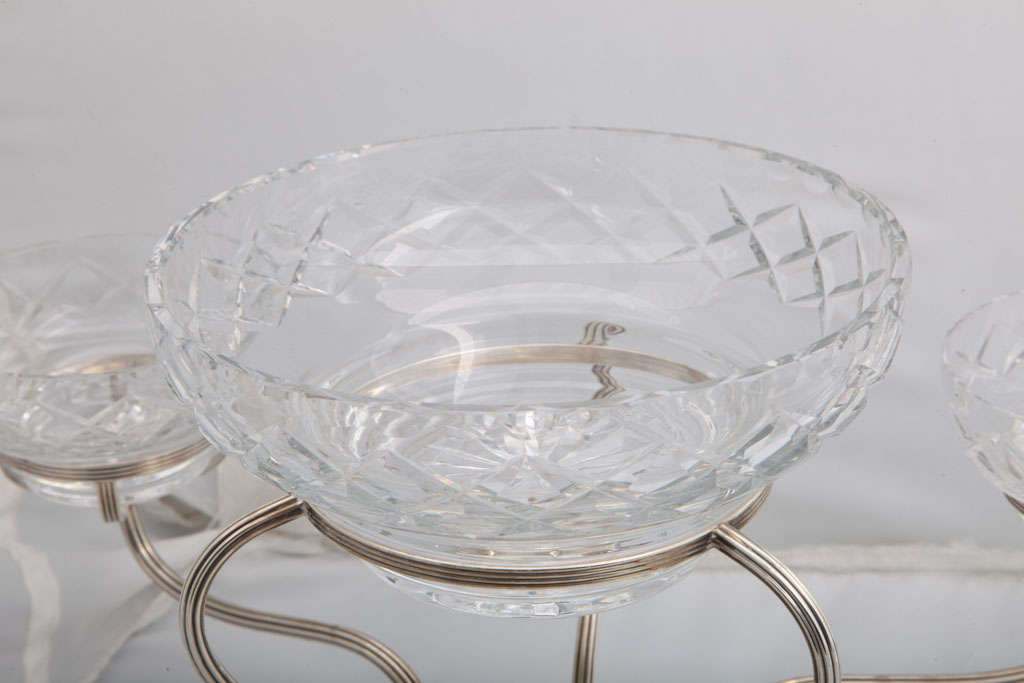 Sterling Silver and Cut Crystal Epergne/Centerpiece By Gorham In Good Condition For Sale In New York, NY