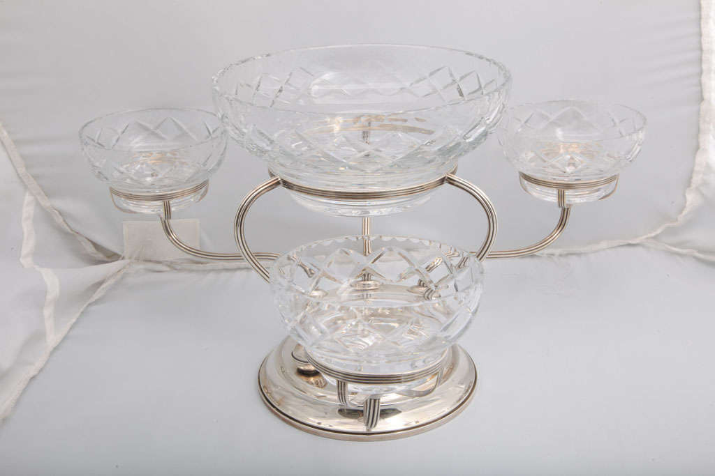 Sterling silver and cut crystal epergne/centerpiece, The Gorham Corp., Providence, Rhode Island, circa 1930s. Measures: 9 1/2