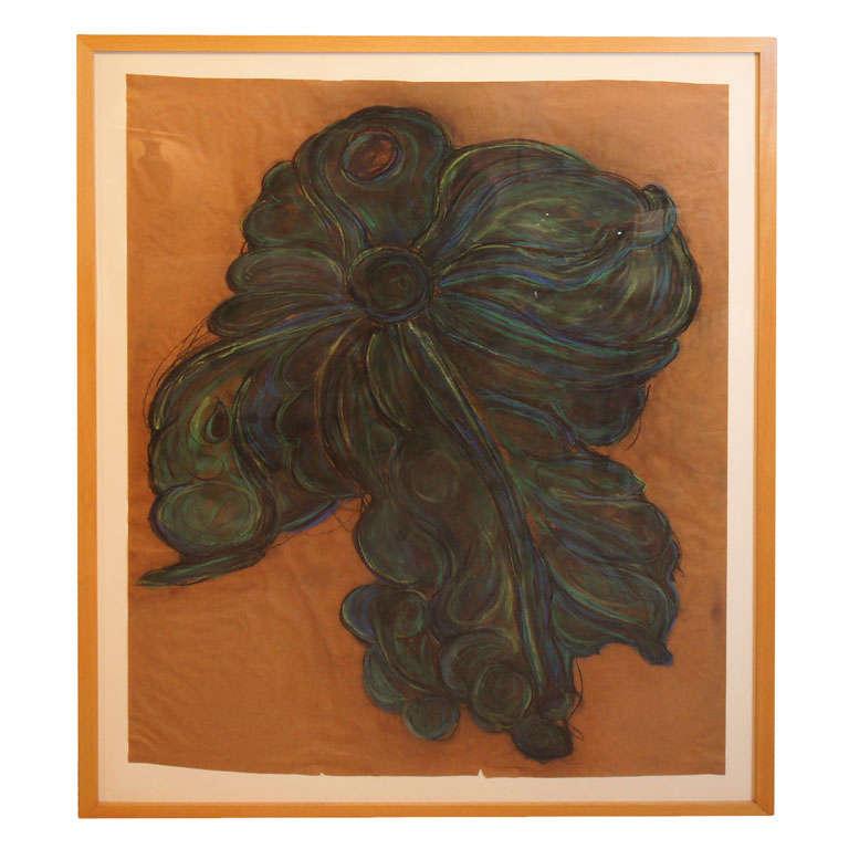 a large flower drawing at 1stdibs. Black Bedroom Furniture Sets. Home Design Ideas