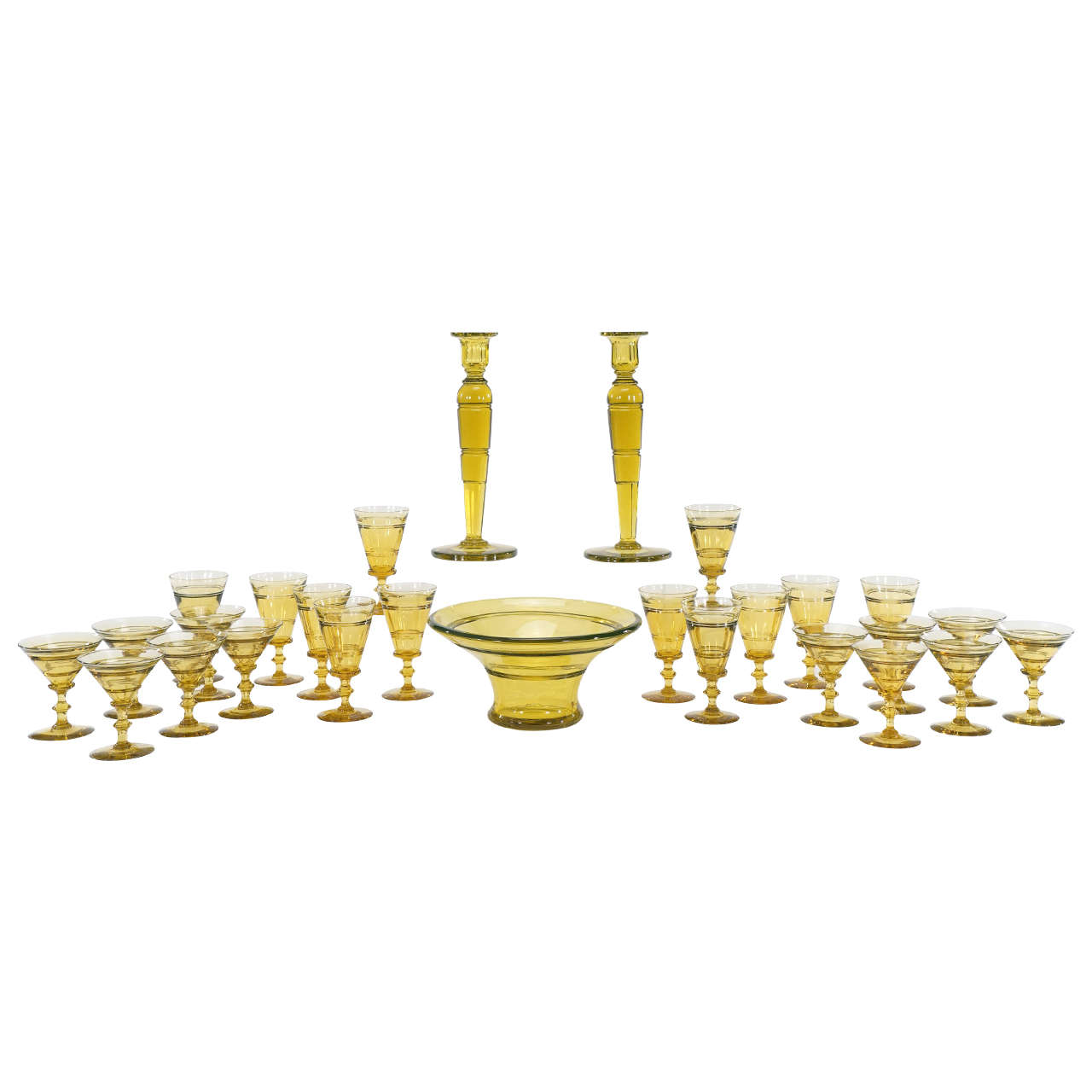 Steuben Art Deco Topaz Handblown Crystal, 72-Piece Table Service for 12