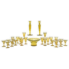 Steuben Art Deco Topaz Handblown Crystal, 72-Piece Table Service for 12