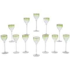 Set of 12 Moser Intaglio Cut Art Nouveau Green Shaded to Clear Wine Goblets
