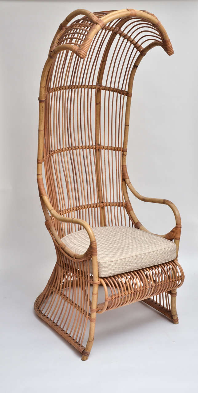 Bamboo High Back Canopy Arm Chair With Upholstered Seat