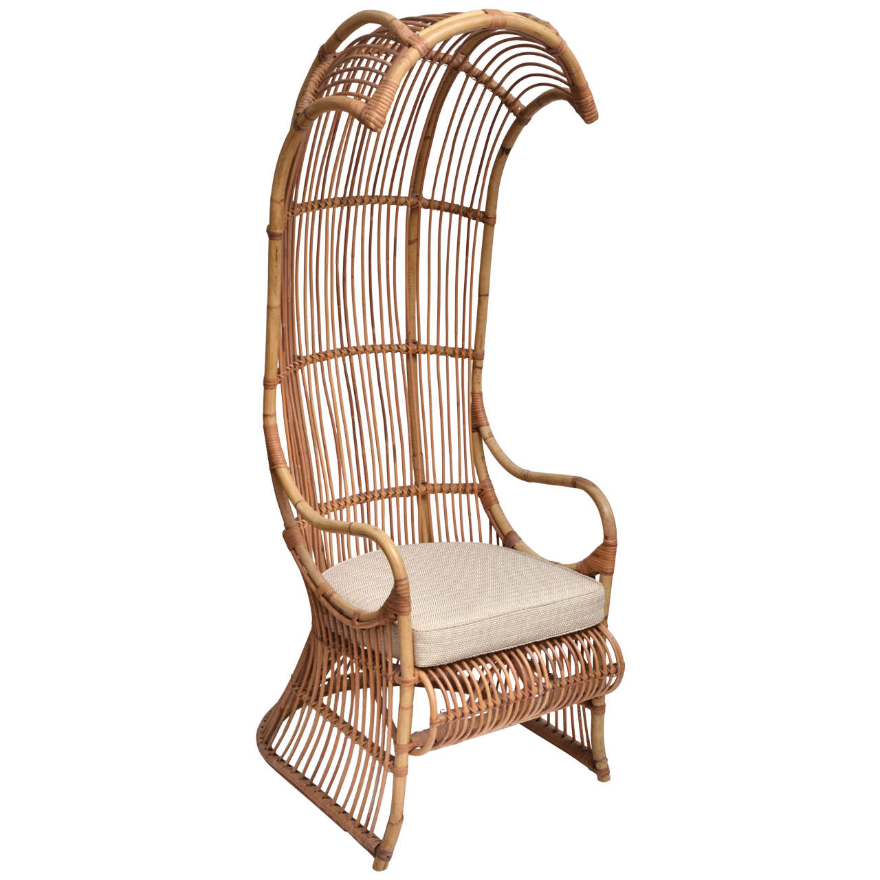 Bamboo Chair With Arms: Bamboo High Back Canopy Arm Chair With Upholstered Seat