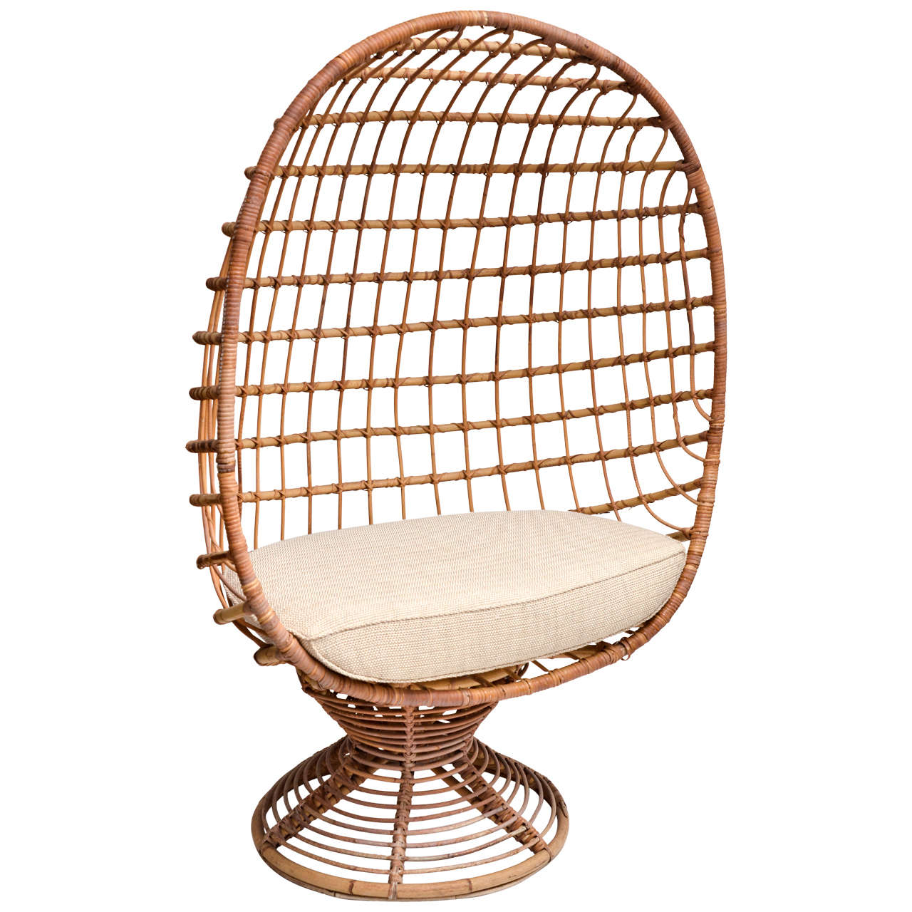 Enclosed Bamboo Canopy Chair with Upholstered Seat Cushion For Sale