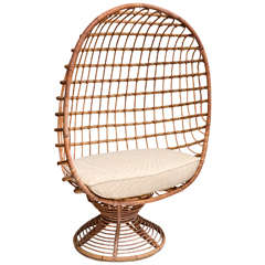 Enclosed Bamboo Canopy Chair with Upholstered Seat Cushion