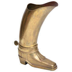 Hammered Brass Umbrella Stand in the Form of a Cowboy Boot