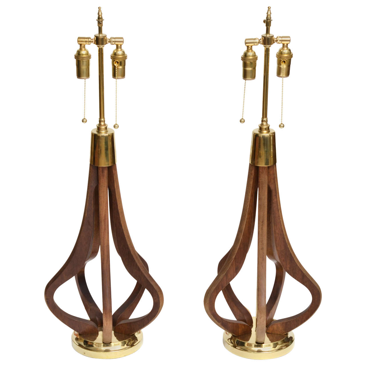 Pair of Bulb Form Wood and Brass Table Lamps