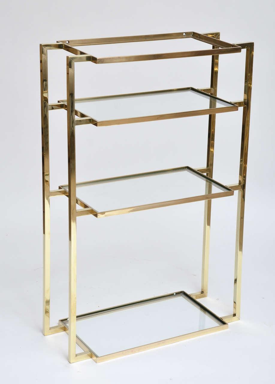 wall mounted four shelf brass vanity for sale at 1stdibs. Black Bedroom Furniture Sets. Home Design Ideas