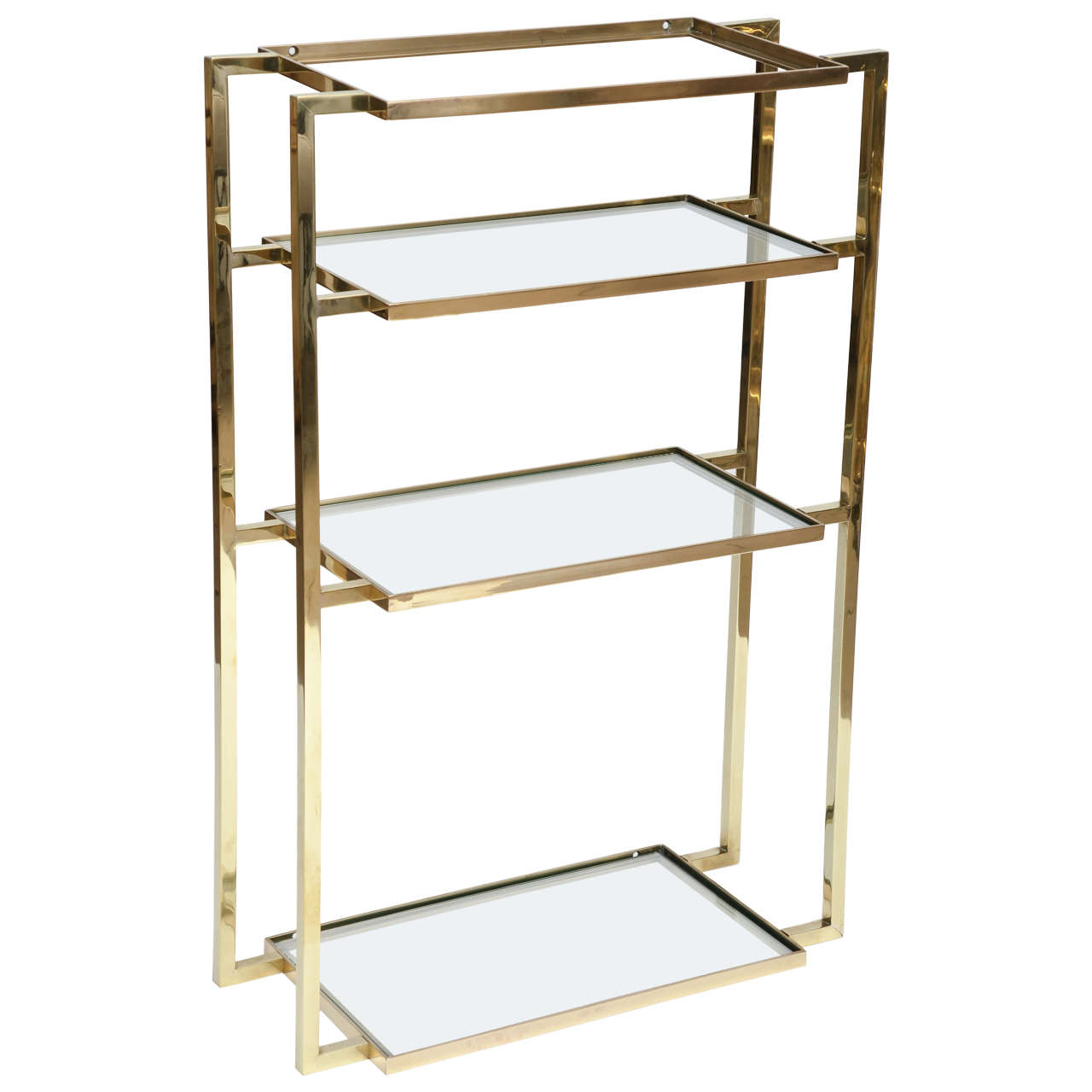 Wall-Mounted Four Shelf Brass Vanity