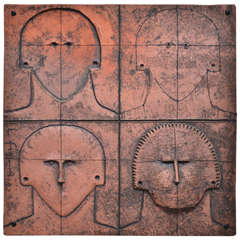 "Terracotta ""Faces"" Wall Applique by Lucia Figueroas"