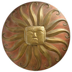 "Painted Brass ""Sun Face"" Motif Wall Applique Attributed to Sergio Bustamante"