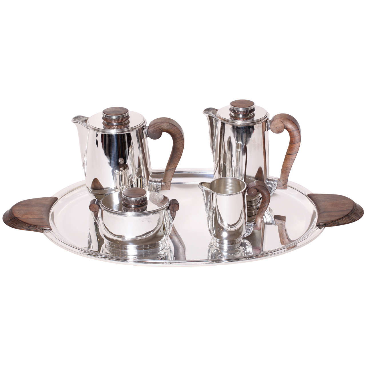 Maison Cardeilhac French Art Deco Sterling Silver Tea And Coffee Service On Tray For